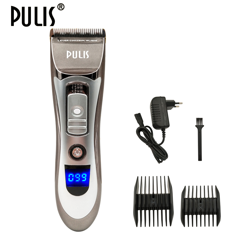цена PULIS Professional Hair Clipper Men Hair Trimmer Rechargeable Haircut Barber Machine Ceramic Blade with Limit Combs for Home