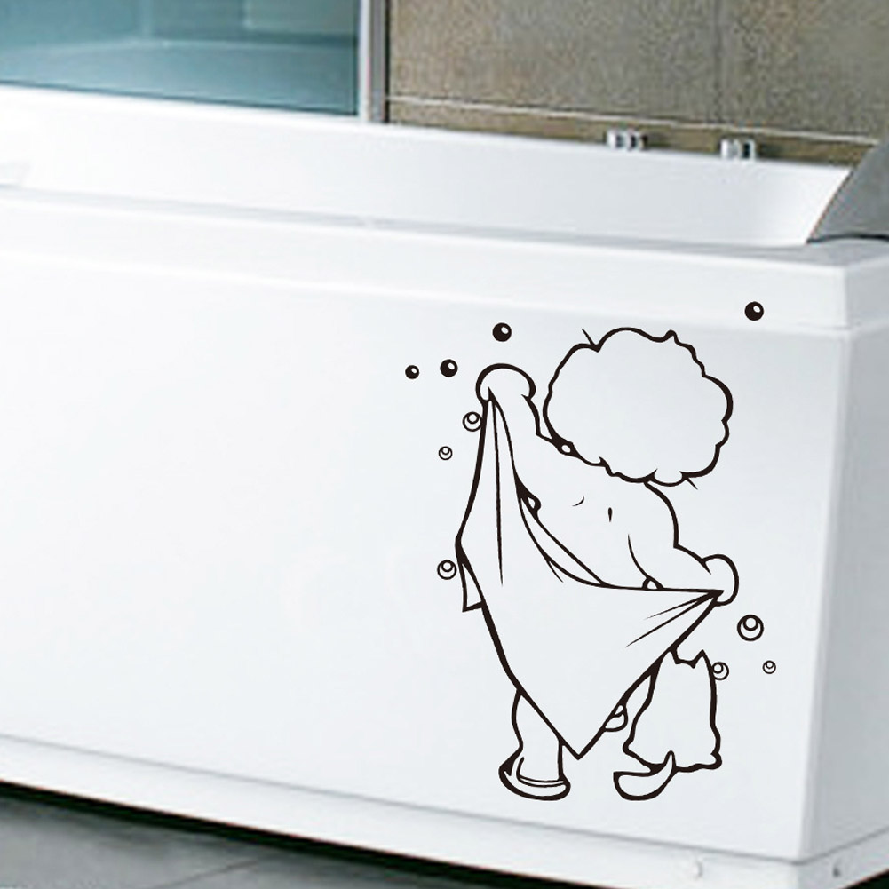Cute Baby Love Shower Glass Door Stickers Wall Stickers Cute Kids Bathing Waterproof Removable Bathroom Wall Stickers