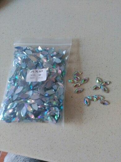 ec12dbd865 JUNAO 7*15mm Sew On Crystal AB Rhinestones Applique Flatback Horse Eye  Acrylic Strass Sewing Diamond Crystal Stones For Clothes