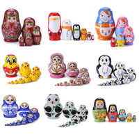 8Pcs/Set Basswood Russian Matryoshka Dolls Bear Ear Nesting Dolls Gift Russian Traditional Feature Ethnic Style Unisex Dolls