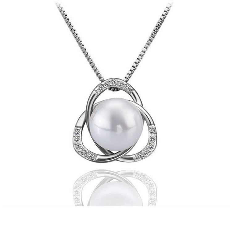 RNAFASHION Jewellery Fashion Crystal Rhinestone Simulated Pearl Jewelry Sets Pendant Necklace Stud Earring Silver Plated Women