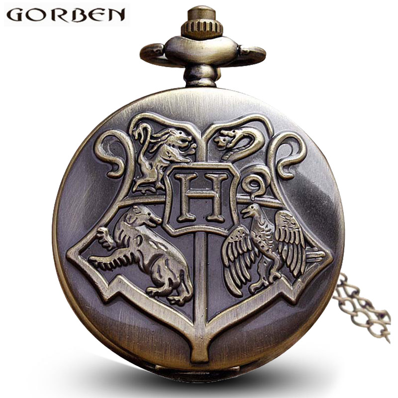 Vintage Hogwarts Harry Potter Necklace Pocket Watch Slytherin Snitch Golden Silver Chain Pendant Men Women Potter Fans' Gifts