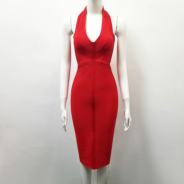 942706a82e2 3 Colors Sexy Rayon Bandage Dress V Neck Halter yellowr Red Black Thick  Designer Knee Length Party Dress for Women TY-3
