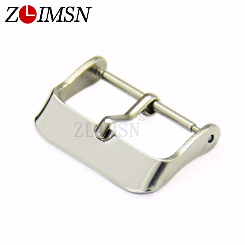 ZLIMSN Solid Stainless Steel Watch Band Pin Belt Buckle Strap Clasp  Silver Watchbands Belt Buckle Width 18mm 20mm 22mm Hot Sale
