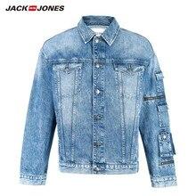Jackjones outono masculino solto ajuste denim jaqueta moda casaco outerwear masculino 219157511