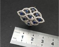 KJJEAXCMY Fine jewelry 925 Silver inlaid Natural Sapphire Mini Ring Support Detection