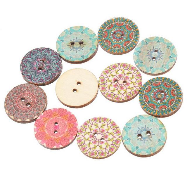 50PCs 2.5cm Scrapbooking Products 2-holes Wooden Buttons For Sewing Clothings Handmade DIY Scraping Buttons For Clothing