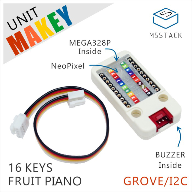 US $4 8 |M5Stack Official Makey Unit MEGA328P Inside 16Key Fruit Paino with  NEO Pixel and BUZZER for ESP32 Development Kit Grove/I2C Port-in Demo