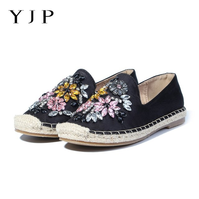 9787ac8db8 US $57.8 |YJP Women Espadrilles, Black/Beige Crystal Flowers Hemp Bottom  Fisherman Shoes, Ladies Fashion Rhinestone Loafers Slip On Shoes-in Women's  ...