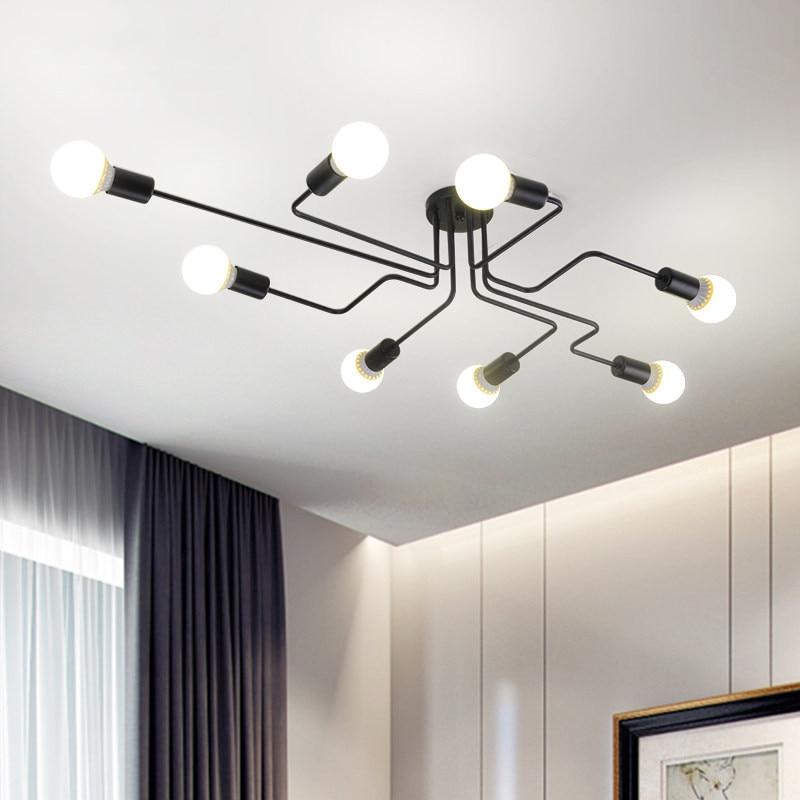 Smuxi Modern 8 Heads Multiple Rod Dome Night Lamps Ceiling Light Wrought Iron E27 Bulb Cafe Bar Home Decor Lighting Fixtures