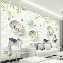 Nordic modern minimalist 3D Elk white wall European style professional custom wallpaper mural
