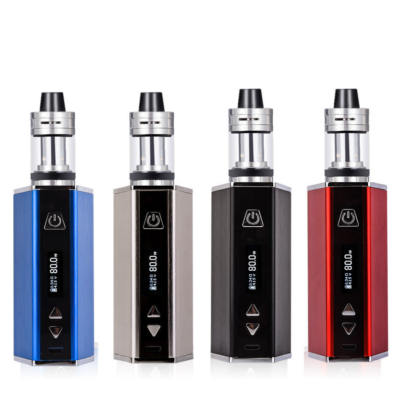 80W Hookah 80W Starter Kit 4ml Tank e-Cigarette  Built In 1800mAh Battery box Mod Metal Body Electronic Cigarette Kits