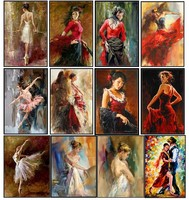 Embroidery Counted Cross Stitch Kits Needlework Crafts 14 ct DMC DIY Arts Handmade Decor Ballerina and Dancer Collection