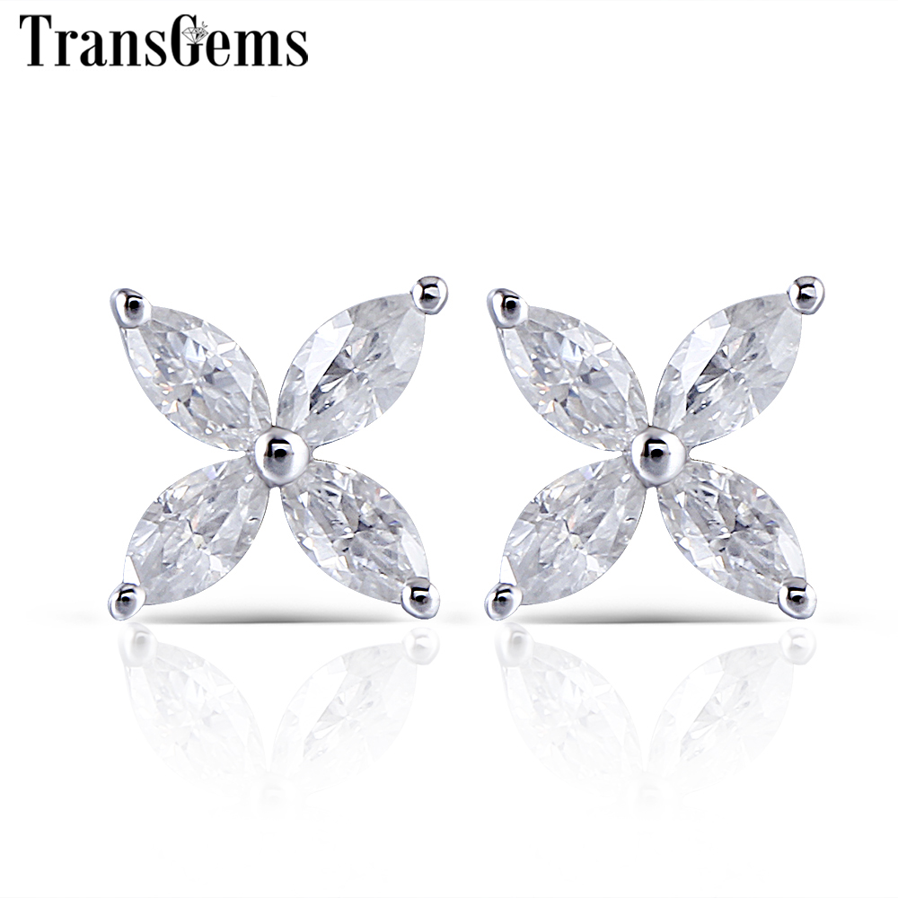 Transgems Flower Shaped Moissanite Stud Earrings 14K White Gold 2X4mm Marquise F Color Moissanite Earrings Screw Back waterdrop shaped stud earrings