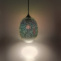 3D stained glass Pendant Lights creative personality coffee restaurant bar art deco exhibition hall fireworks illumination