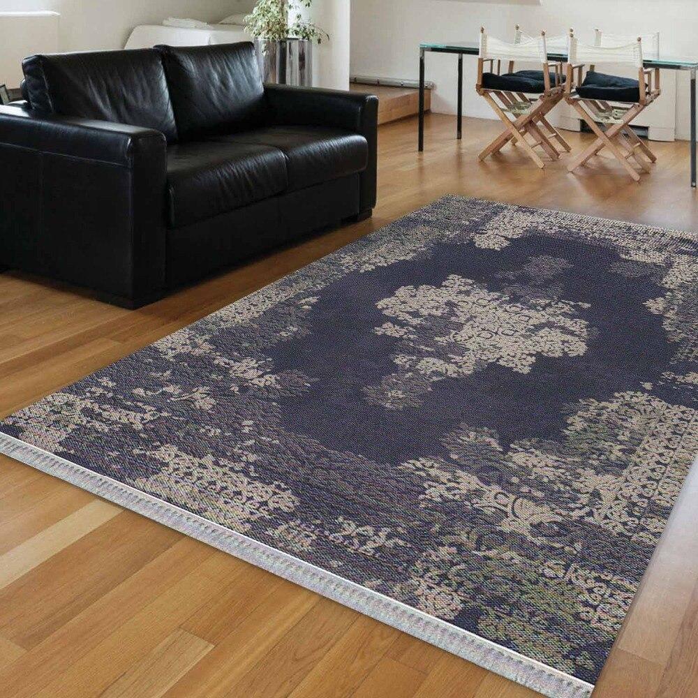 Else Navy Blue Gray Persian Ethnic Aging Authentic 3d Print Anti Slip Kilim Washable Decorative Kilim Area Rug Bohemian Carpet