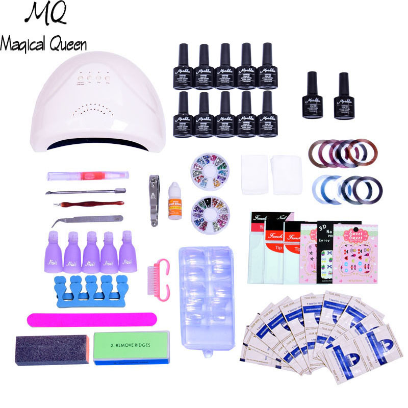 MQ Nail Gel 10 color 48W Led Lamp Manicure nail art tool Varnish soak off uv Dryer gel polish top and base coat Buffer Remover цена 2017