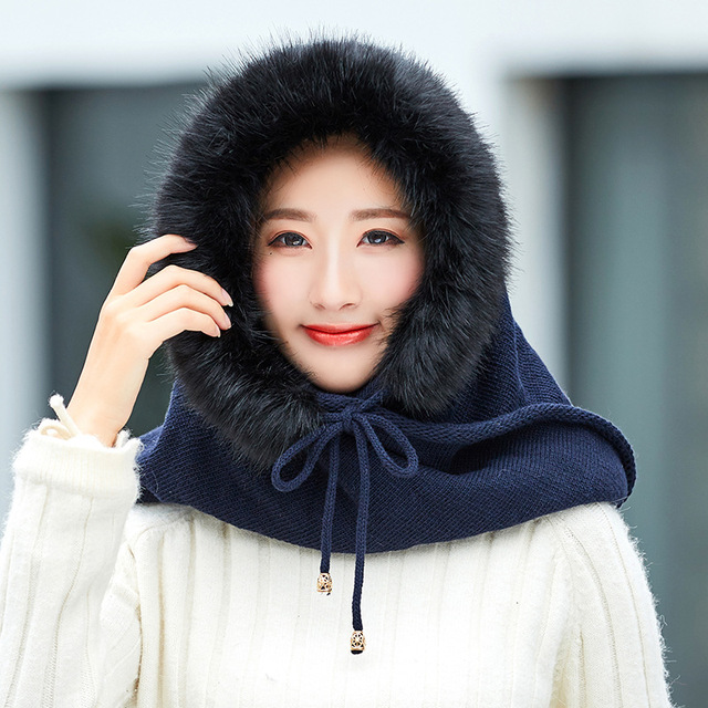 851fd7b9dc279 New matching neck hats autumn winter Lady s Fashionable warm wool Students  knit caps cold weather head wear beanies sets
