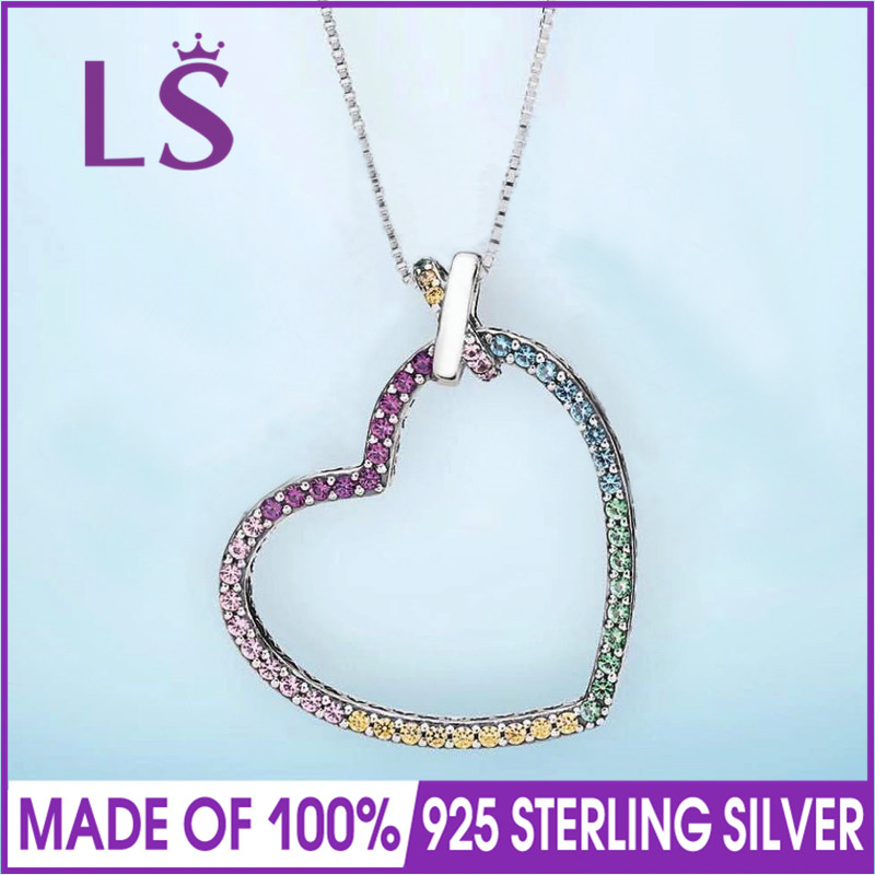 LS 2018 New 100% 925 Sterling Silver Multi-Colored Crystals Heart Necklace Women Original Fine Jewelry Women Christmas Gifts. chic tropical style colored faux crystals flower necklace for women