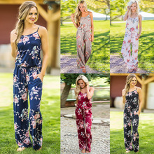 2019 Summer Women Floral Jumpsuits Elastic Waist With Pockets Casual Strap Jumpsuit Long Rompers Overalls Beach