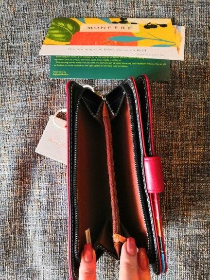 MONFERE Fashion Luxury Long Women Wallet Cash ID Cards Functional Multi Pockets Big Wallet Color Inside Button Lady Clutch Purse photo review