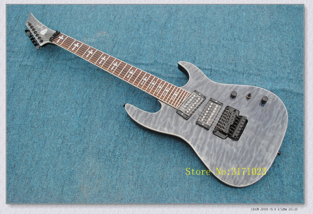 China Custom Shop Blue Quilted Finish Jackson Electric Guitar 7 String Mahogany Body For Sale Free Shipping high quality custom shop lp jazz hollow body electric guitar vibrato system rosewood fingerboard mahogany body guitar