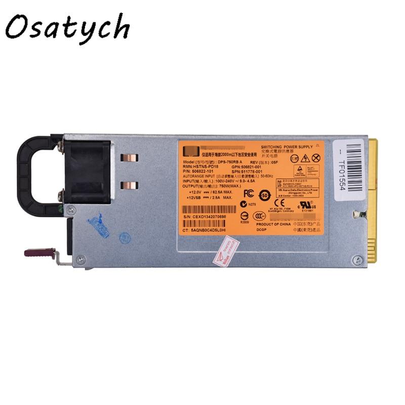 Для HP DL380 G6 G7 750W мощность сервера 511778-001 DPS-750RB источник питания