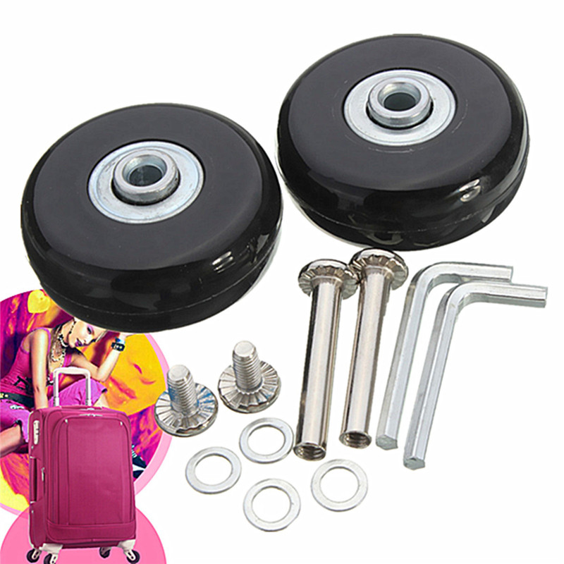 50x18mm Luggage Suitcase Replacement Wheels OD 50 ID 6 W 18 Axles 35 Repair Luggage Wheels 1 Pair Rubber Wheels With Screws