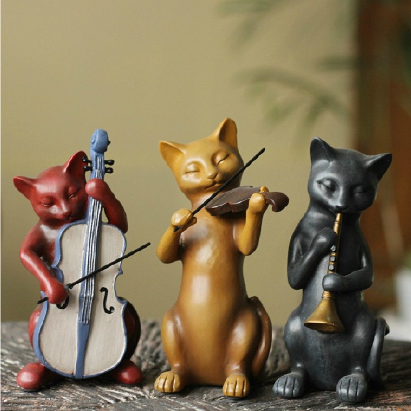 3 고양이 밴드 음악가 수 지 장식품 공예 선물 동상 인형 홈 장식-에서피규어 & 미니어처부터 홈 & 가든 의  그룹 1