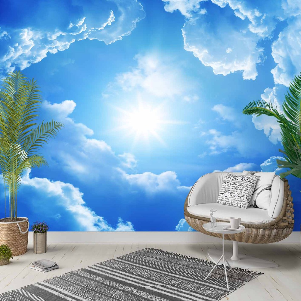 Else Blue Sky White Clouds Shine Sun Nature 3d Photo Cleanable Fabric Mural Home Decor Living Room Bedroom Background Wallpaper