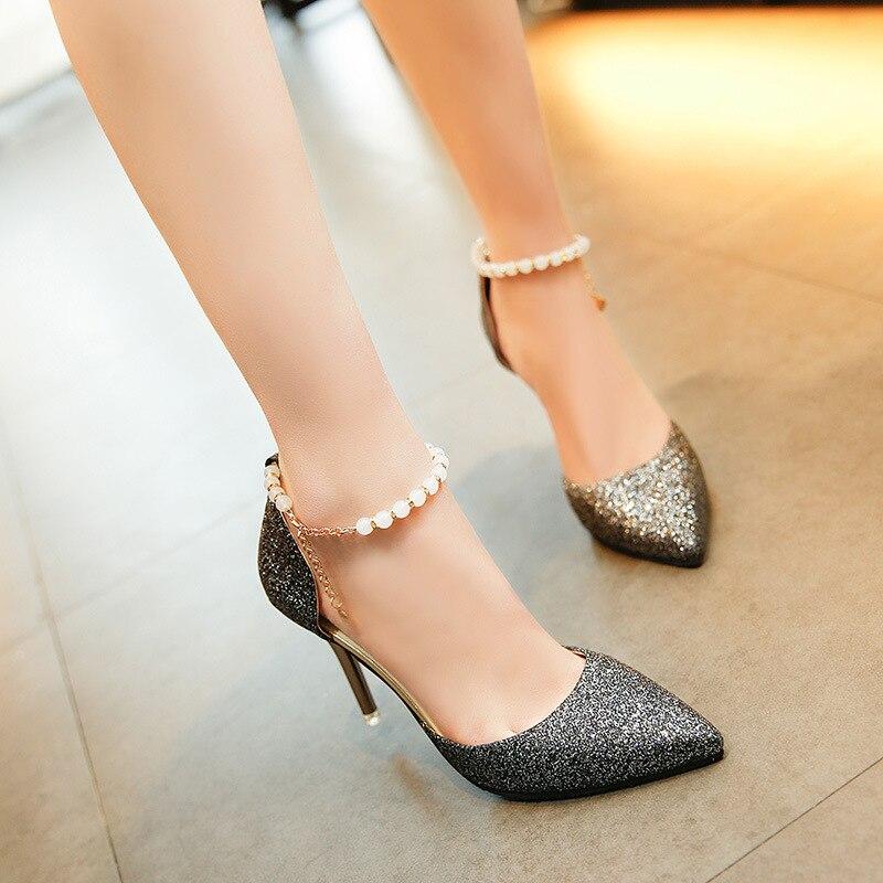 Hauts Pointu Mode Femmes Coréenne Nouveau Sauvage Noir Talons De argent Sexy Chaussures Sandales H6qxYZ8