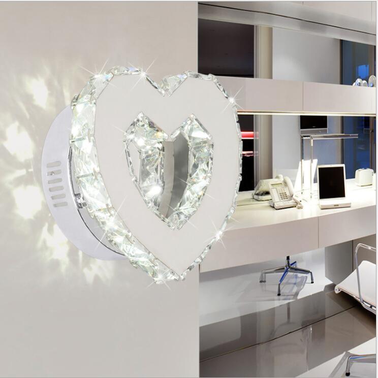 Moderne en forme de coeur cristal miroir lampe mur LED lumière IC Driver 110/220 v 18 w salle de bain lampe applique murale/applique wandlamp
