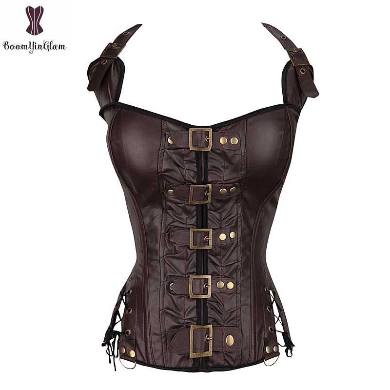 Dropshipping Halterneck Brown Black Leather Corselet Clubwear Costume Gothic Corset Buckle Women Outfit Bustier Wholesale Price