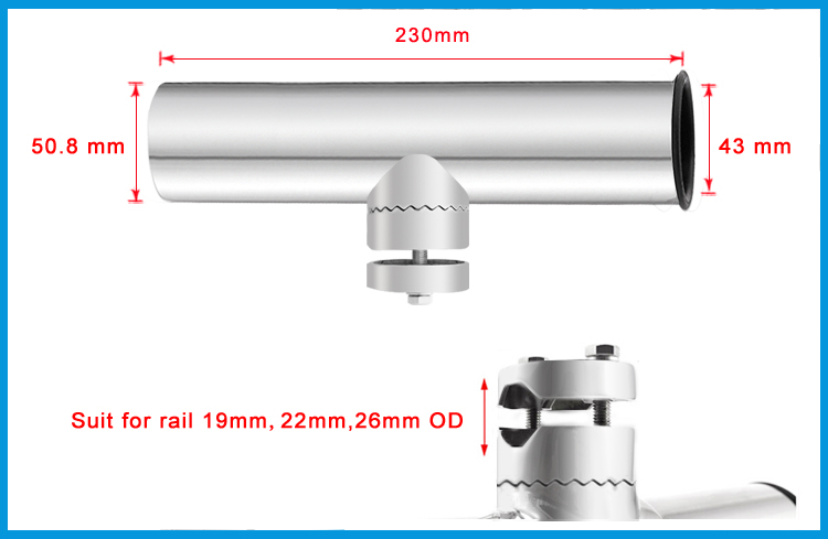 2X Adjustable Removable Rail Mount stainless steel 316 fishing rod holders with clamp on rail 3/4 to 1 inch boat marine hardware