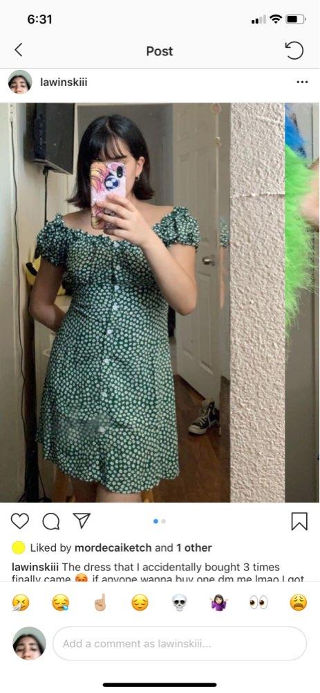 Women Sweet Heart Neck Floral Print Mini Dress Frill Trim Floral Print Green Dress photo review