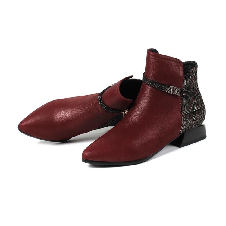 MLJUESE 2019 mujeres tobillo botas de cuero de vaca de Punta cremalleras  otoño primavera color rojo vino mujeres botas mujer botas martin botas en  Botines ... 77a8ff73dcc9