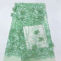 Latest Embroidery Tulle African Beaded Lace 3D Applique French Lace Fabric Nigerian Lace Fabrics For Women X653 1