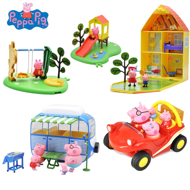 Original Peppa Pig George Pig Figuras de Ação Boneca de Brinquedo Peppa Pig George Amigos Cabeça Macio Campo Cena Do Carro de Jantar Crianças brinquedo de Presente
