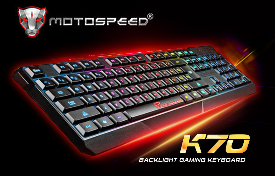 Officielle Vente! MotoSpeed K70 7-couleur Rétro-Éclairage Ordinateur de Jeu/Travail Clavier Teclado USB Alimenté pour Ordinateur Portable De Bureau Noir