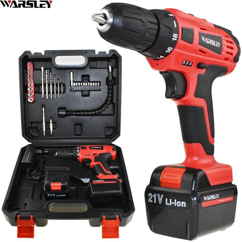 45N/M électrique Tournevis 21 v outils électriques Perceuse électrique Électrique Perceuse sans fil 2 Batteries boîte En Plastique Mini Forage de forage