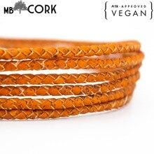 5mm Braided Orange round cork cord Portuguese cork Jewelry supplies Findings cord vegan Cork Cord COR 382