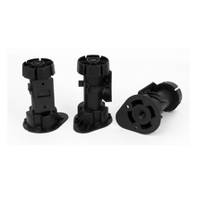 Kitchen Bathroom Black Plastic Adjustable Height Cabinet Cupboard Leg Foot 3Pcs adjustable | foot | furniture | leg