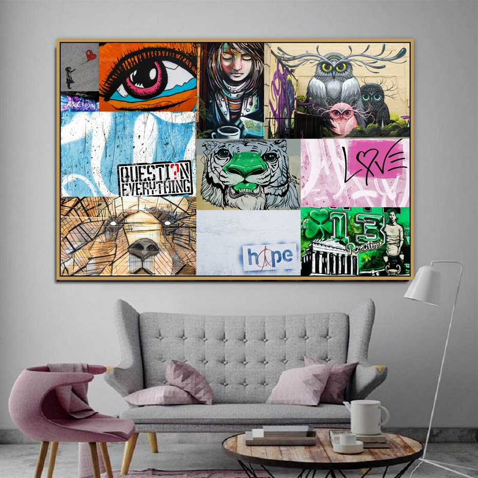 """Reproduction /""""Question Everything/""""  Graffiti Print Home Wall Art"""