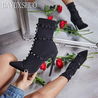 BAYUXSHU Brand Design Sexy Rivets Ankle Boots Women Pumps Shoes Pointed Toe Thin High Heels Motorcycle Chelsea Booties Plus Size