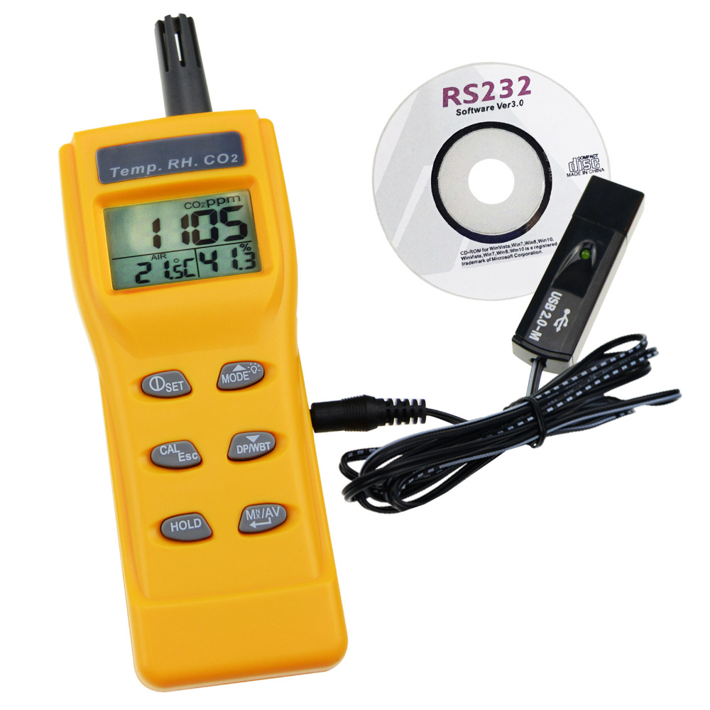 CO2 RH Temp Real Time Monitor Kit Set w PC Software Recording Analyzer Temperature Dew Point