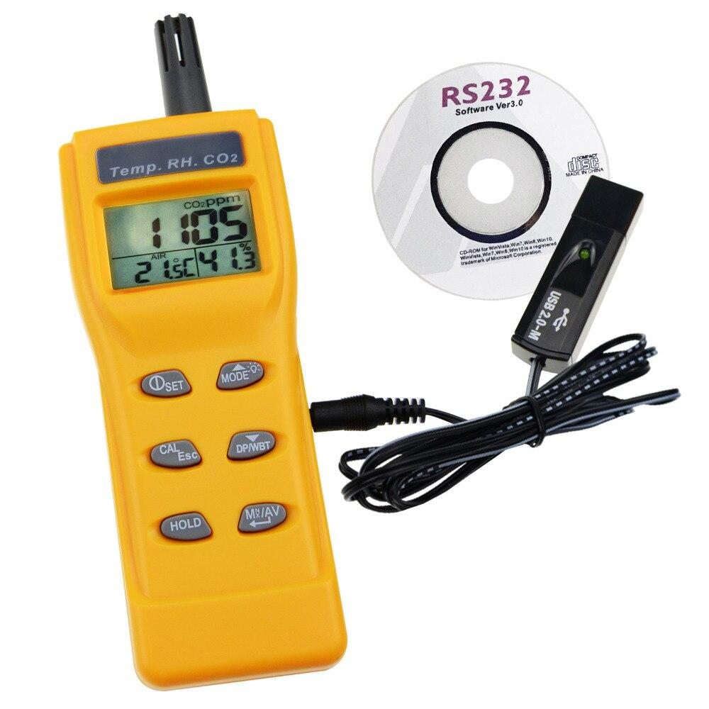 CO2, RH et Temp Moniteur en Temps Réel Kit Set w/PC Logiciel D'enregistrement Analyseur, température/Point de Rosée/Humide Ampoule/Humidité CO2 Mètre