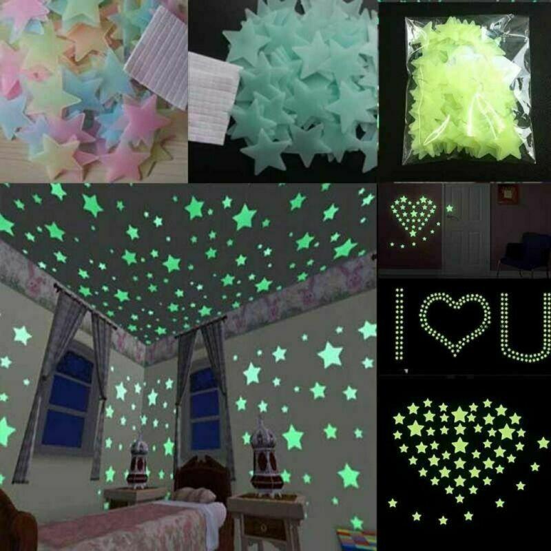 50/100 PC 3D Stars Illuminate Wall Sticker Fluorescent Glow In The Dark Wall Stickers Child Room Home Decoration Sticker Star
