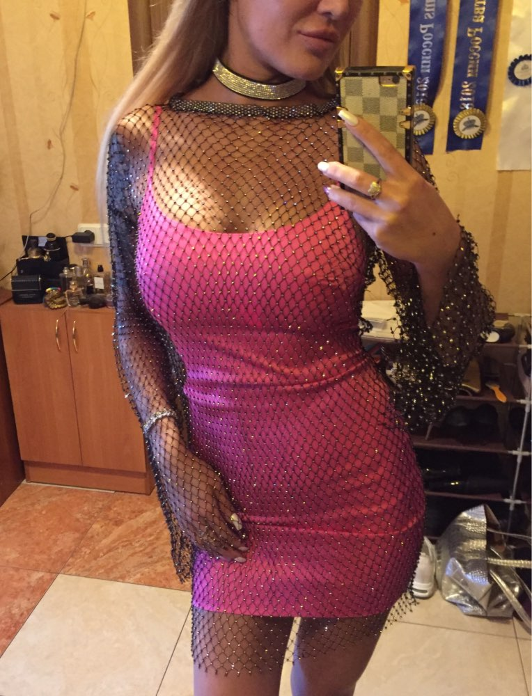 Summer Diamonds Mesh Patchwork Dresses Women Crochet Hollow Out Rhinestone Long Sleeve Party See Through Wrap Mini Dress photo review