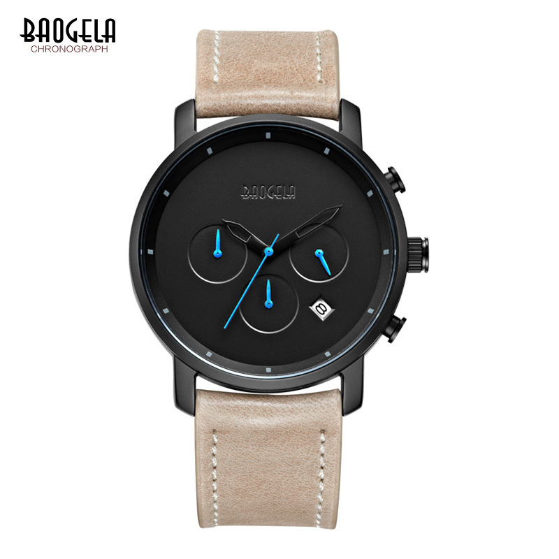 Baogela Chronograph Herren Uhren Top Brand Luxus Lederband Sport Quarz Handgelenk Uhren Multi-funktion Armbanduhr
