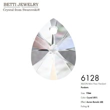 Ms Betti with crystal from SWAROVSKI 6128 XILION Mini Pear Pendant 10mm loose beads stone retail for jewelry making wholesale(China)